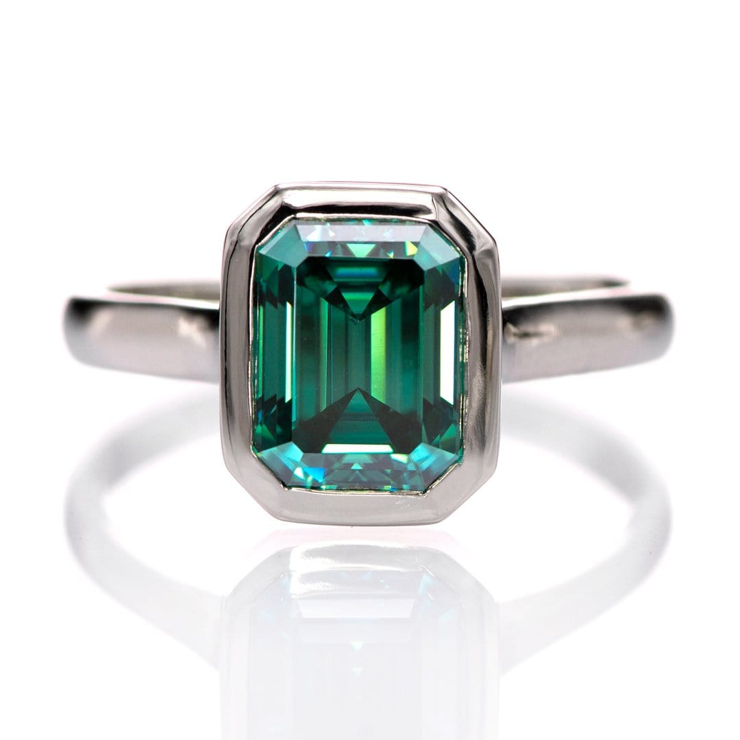 Emerald Cut Green Moissanite Olivia Bezel Set 14k White Gold Solitaire Cathedral Engagement Ring