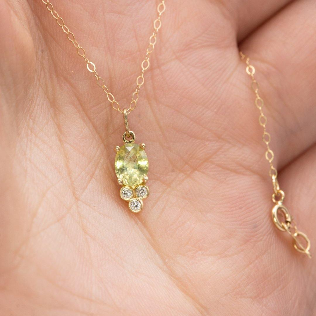 Accented Oval Green Montana Sapphire & Moissanite 14k Yellow Gold Pendant Necklace, Ready to Ship - Nodeform