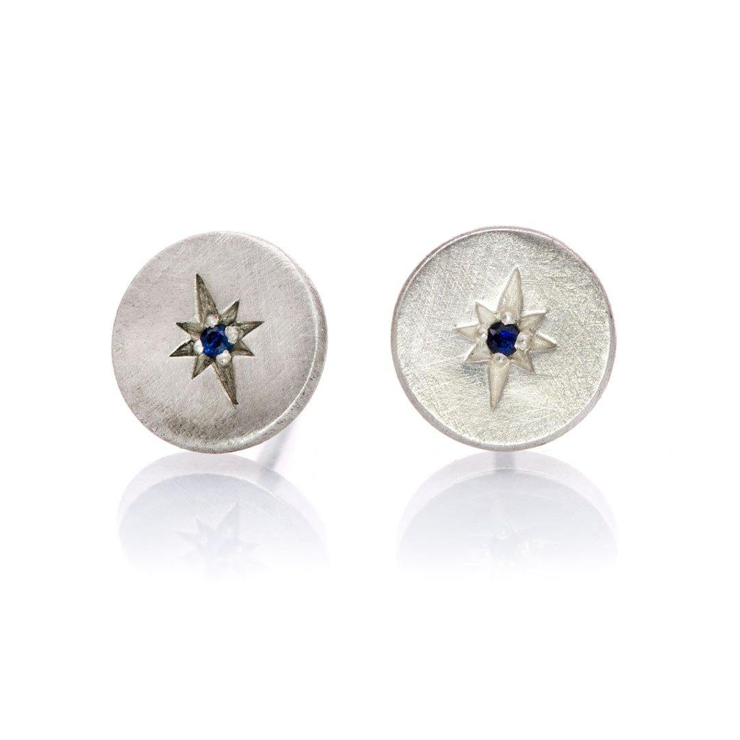 Australian Blue Sapphire Star Set Round Sterling Silver Disk Stud Earrings, Ready to Ship
