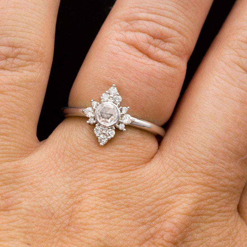 Ava Ring - Rose Cut Moissanite, Petite Diamond, Moissanite or White Sapphire Halo Engagement Ring