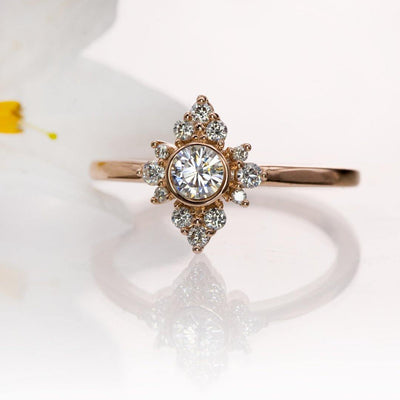 Ava Ring - Moissanite, Diamond or White Sapphire Halo Engagement Ring