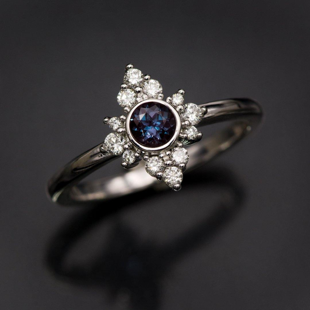 Ava Ring - Petite Chatham Alexandrite Engagement Ring with Moissanite or Diamond Halo