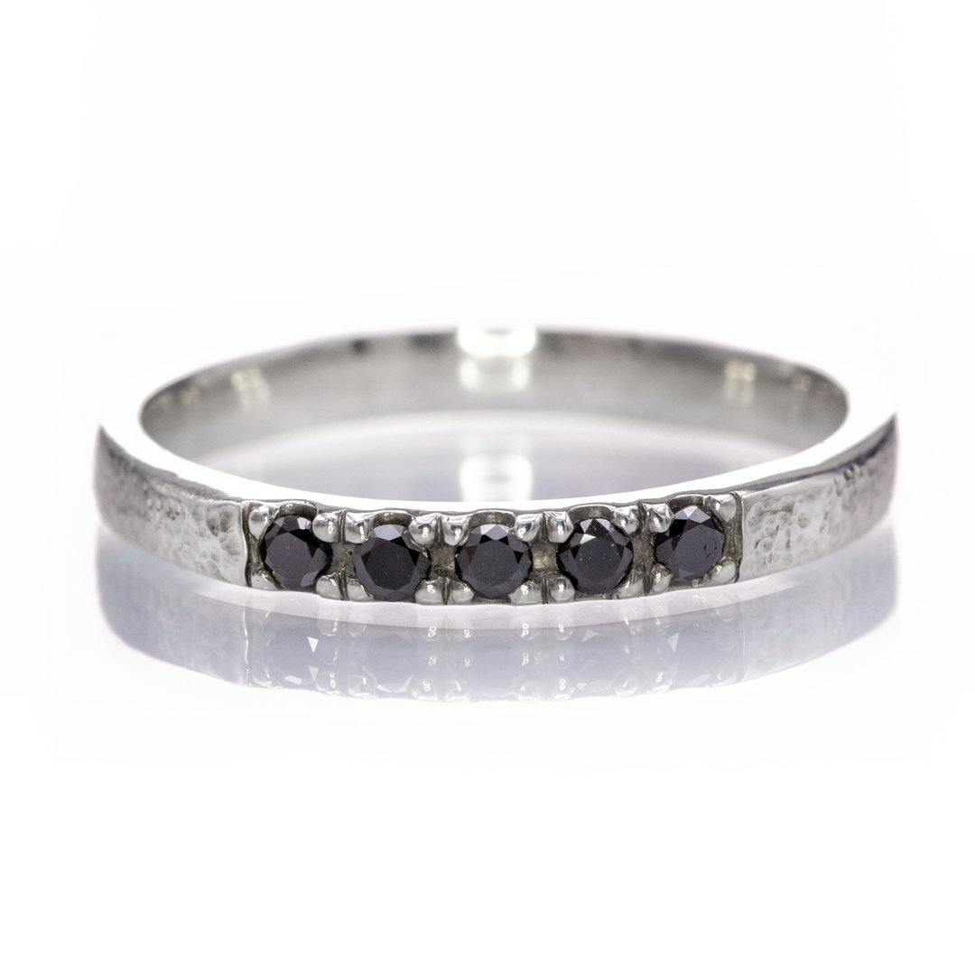 Black Diamond Pave French Set Sterling Silver Ring Stacking Wedding Band {Ready to Ship}