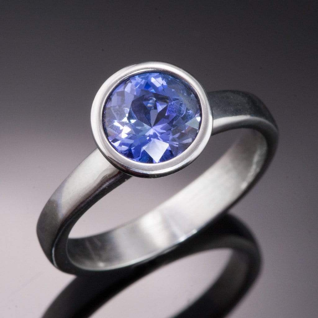 Blue Tanzanite Bezel Solitaire Engagement Ring - by Nodeform
