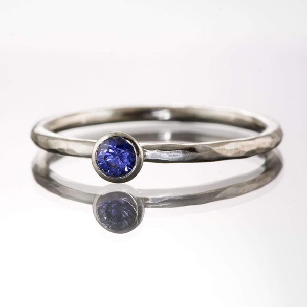 Blue/Violet Yogo Montana Sapphire Hammer Textured Stacking Engagement Ring, Ready To Ship, size 4-9