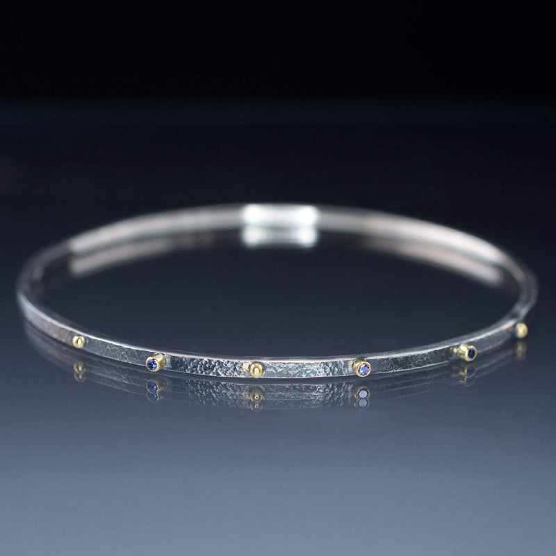 Blue Sapphire Bracelet Textured Sterling Silver Bangle 18k Gold Accents
