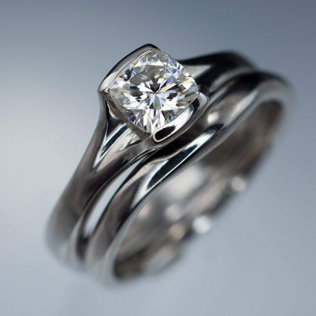 Cushion Cut Solitaire With Wedding Band
