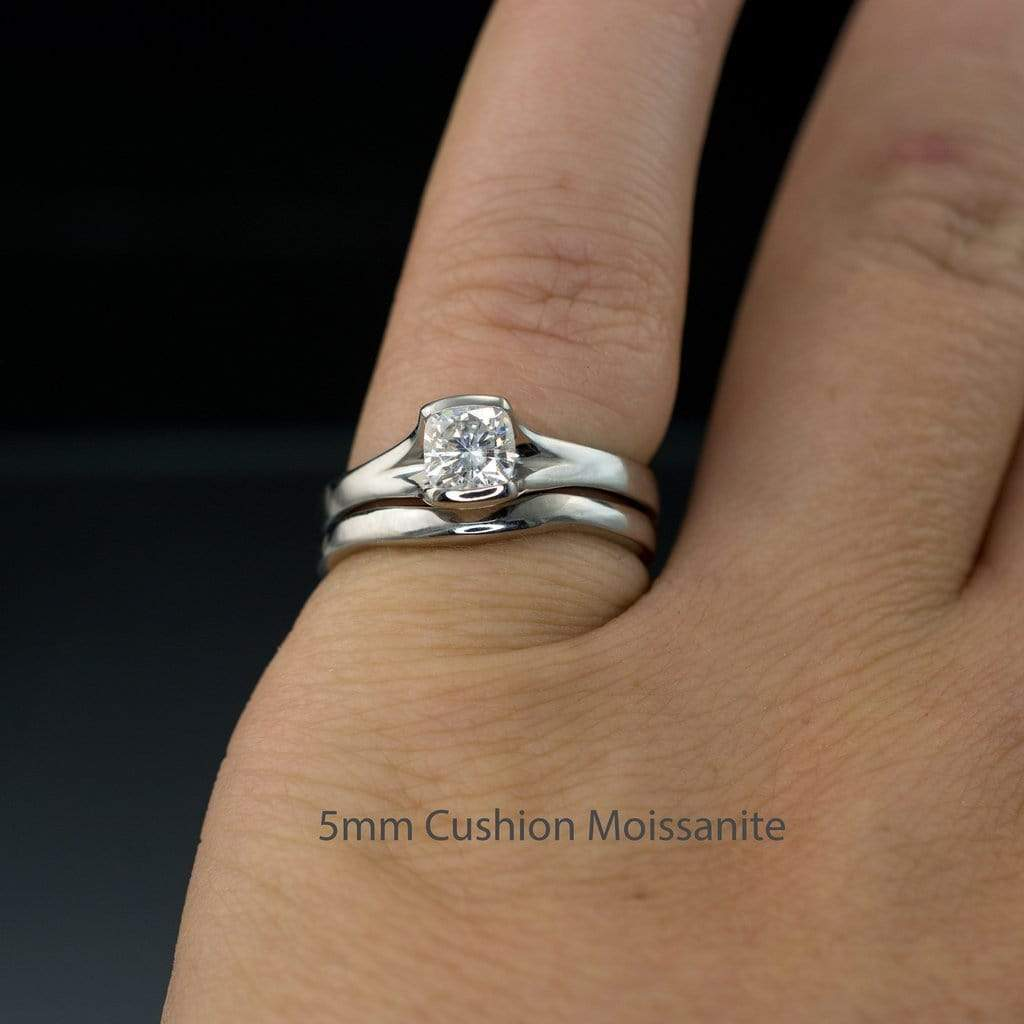 Platinum or White /& Yellow Gold Palladium Alternative Wedding Ring Notched Shadow Band Fitted Contoured Shadow Wedding Band in Rose Gold