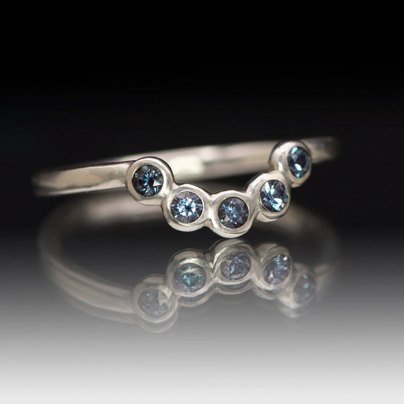 Carrie Band, Contoured Sterling Silver Wedding Band with Chatham Alexandrites, Ready to Ship