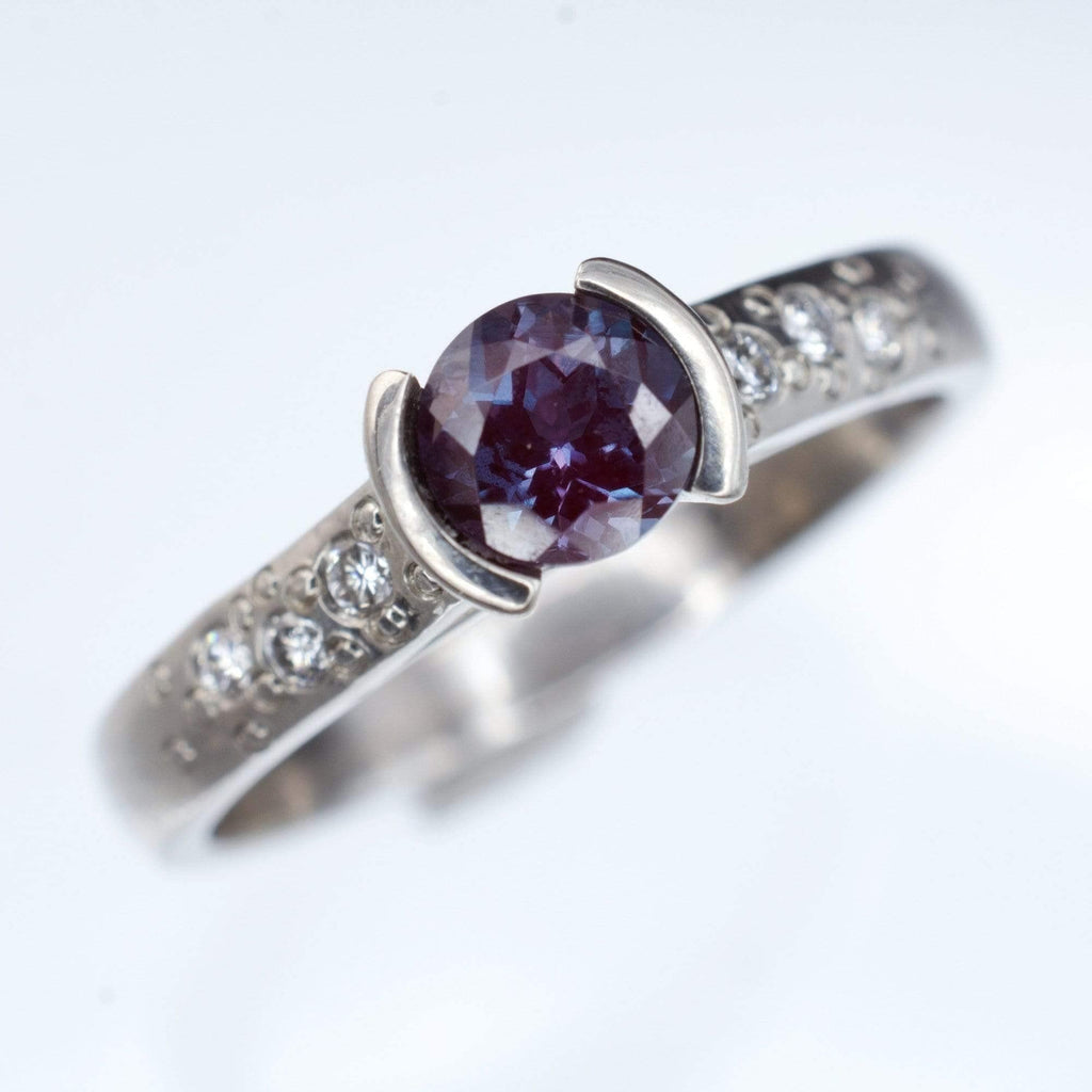 alexandrite half bezel diamond star dust palladium engagement ring - Alexandrite Wedding Ring