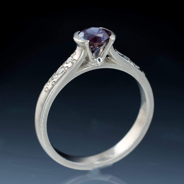 Alexandrite Half Bezel Diamond Star Dust Engagement Ring side view