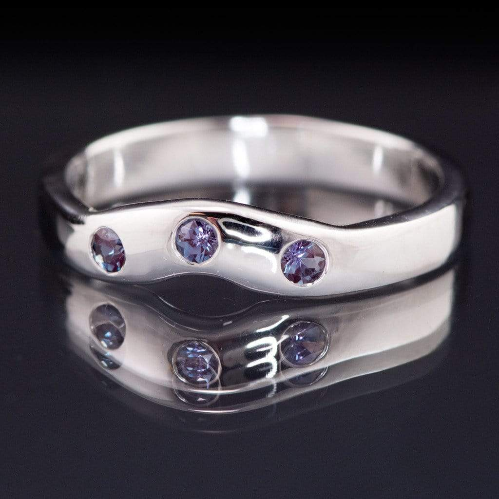 Chatham Alexandrite Fitted Contoured Wedding Ring Shadow Band - by Nodeform