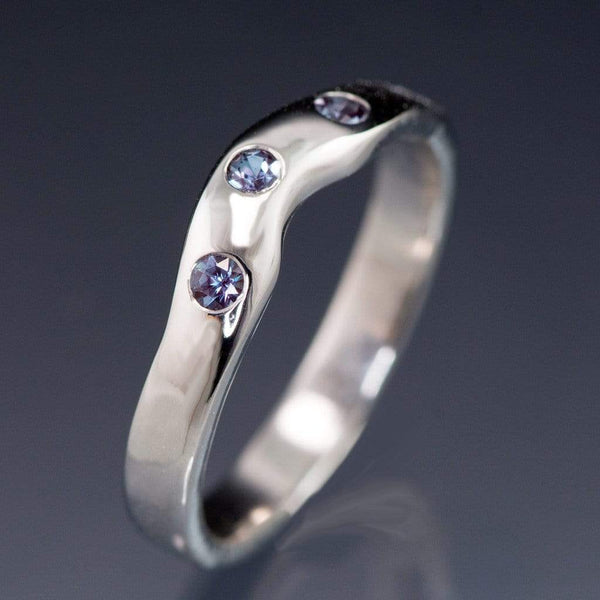 Chatham Alexandrite Fitted Contoured Wedding Ring Shadow Band