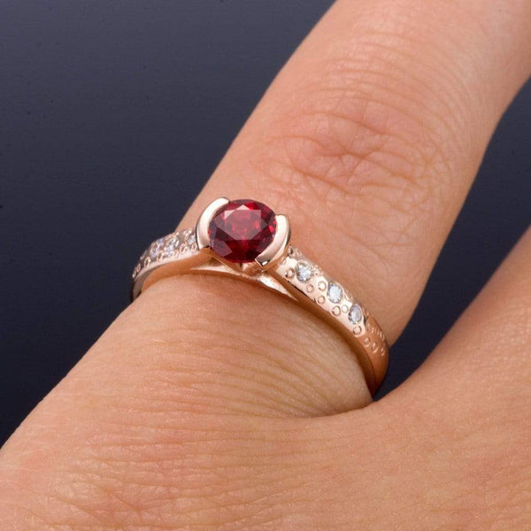 Chatham Ruby Half Bezel Diamond Star Dust Gold Engagement Ring