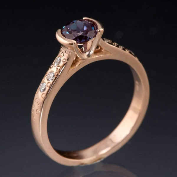 Alexandrite Half Bezel Diamond Star Dust Rose Gold Engagement Ring - by Nodeform