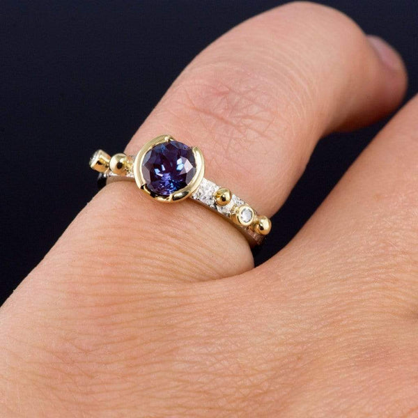 Chatham Alexandrite Half Bezel & Diamonds in 18k Gold Accents Textured Engagement Ring - by Nodeform