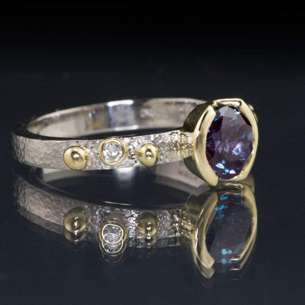 Chatham Alexandrite Half Bezel & Diamonds in 18k Gold Accents Textured Engagement Ring