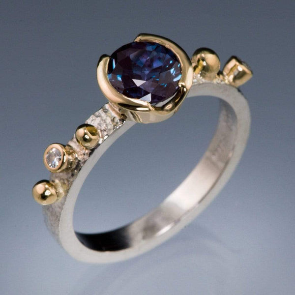 Chatham Alexandrite Half Bezel & Diamonds in Rose Gold Accents Textured Engagement Ring