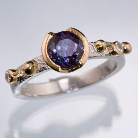 Chatham Alexandrite Half Bezel & Diamonds in Rose Gold Accents Textured Engagement Ring - by Nodeform