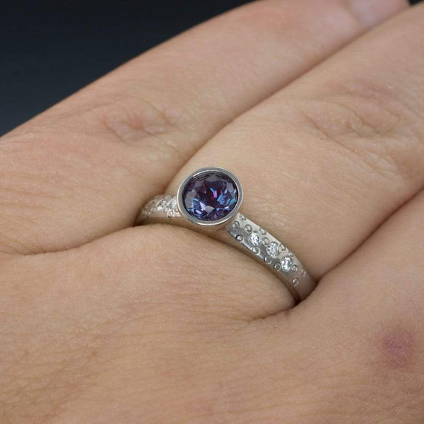 Chatham Alexandrite Elevated Bezel Diamond Star Dust Engagement Ring - by Nodeform