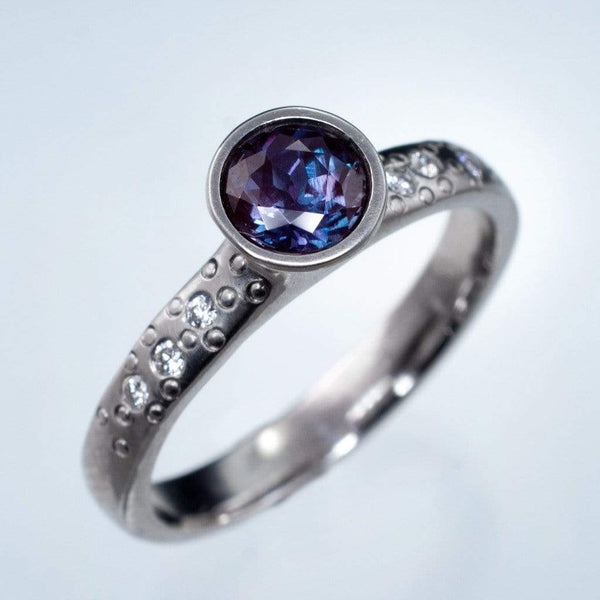 Chatham Alexandrite Elevated Bezel Diamond Star Dust Engagement Ring