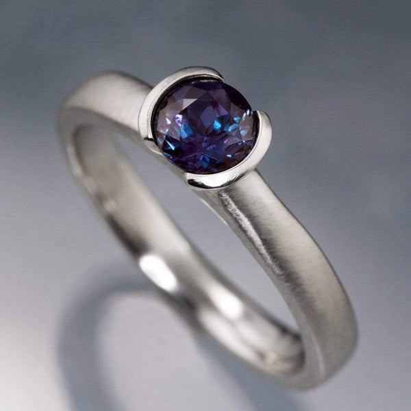 Chatham Alexandrite Half Bezel Engagement Ring - by Nodeform