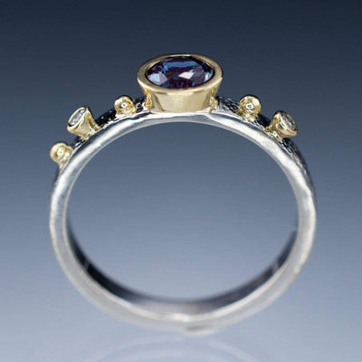 Engagement Ring Fair Trade Blue / Green Malawi Sapphire & Diamond Gold Accents - by Nodeform
