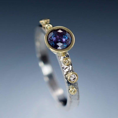 Engagement Ring Chatham Alexandrite & Diamonds in 18k Gold Accents - by Nodeform