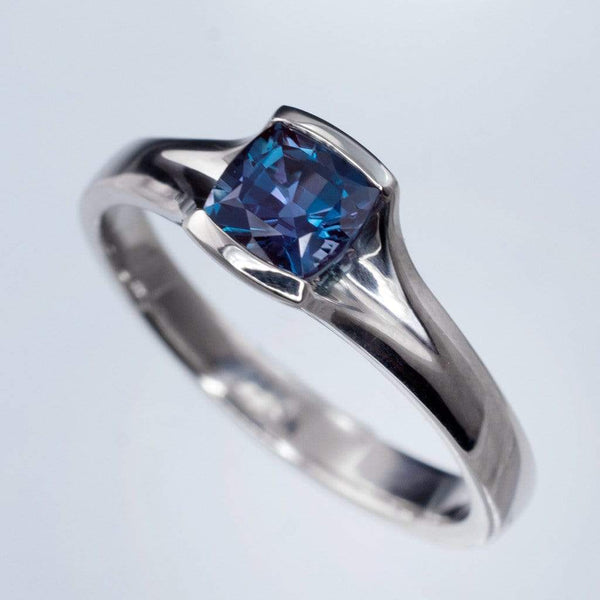 Cushion Cut Chatham Alexandrite Fold Solitaire Engagement Ring