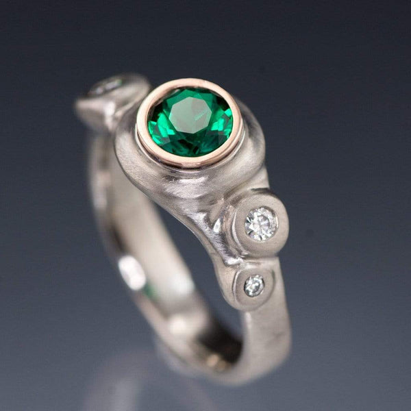 Chatham Emerald Bezel Set & Moissanite Buds Engagement Ring - by Nodeform