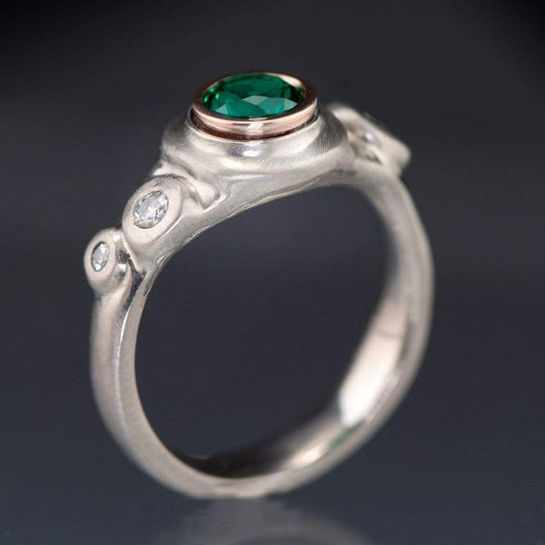 Chatham Emerald Bezel Set & Moissanite Buds Engagement Ring