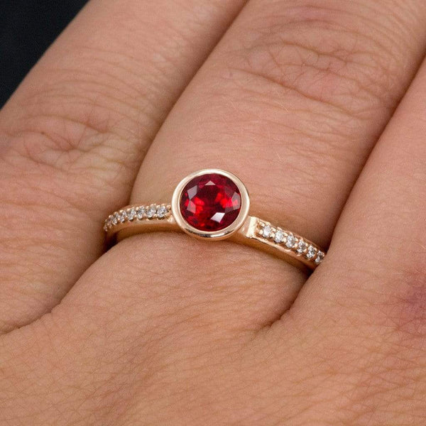 Chatham Ruby Round Peekaboo Bezel Diamond Micro Pave Engagement Ring