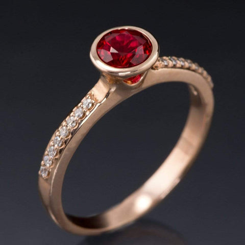 Chatham Ruby Round Peekaboo Bezel Diamond Micro Pave Engagement Ring - by Nodeform