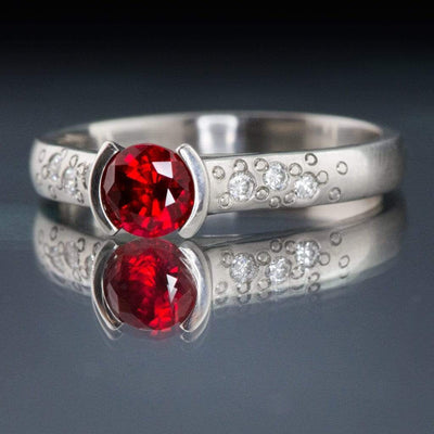Chatham Ruby Half Bezel Diamond Star Dust Engagement Ring - by Nodeform
