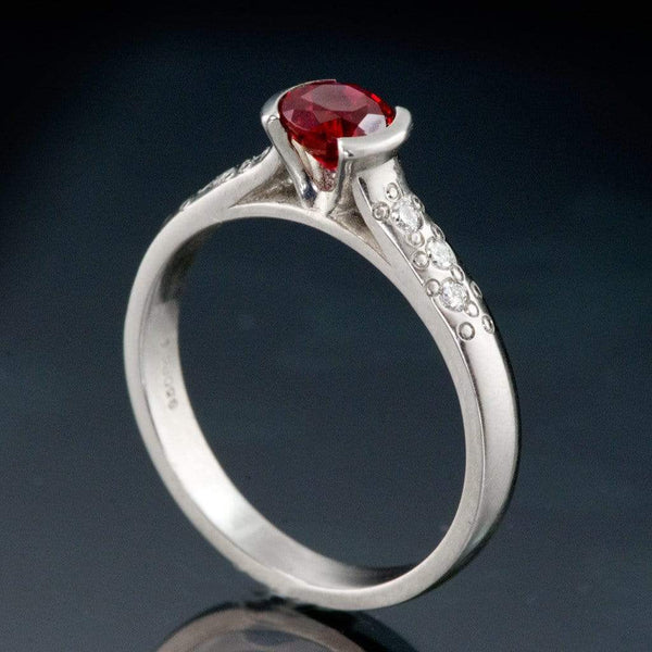 Chatham Ruby Half Bezel Diamond Star Dust Gold Engagement Ring - by Nodeform