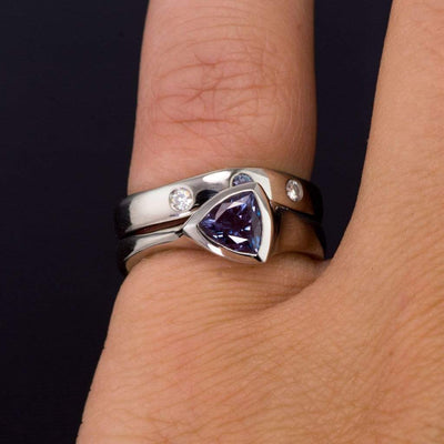 Moissanite and Chatham Alexandrite Fitted Contoured Wedding Ring Shadow Band - by Nodeform