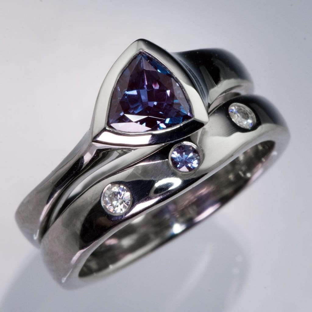 moissanite and chatham alexandrite fitted contoured wedding ring shadow band by nodeform - Alexandrite Wedding Ring
