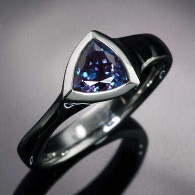 Trillion Chatham Created Alexandrite Bezel Solitaire Engagement Ring - by Nodeform
