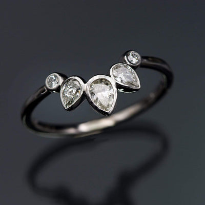 Chloe Band- Graduated Pear Diamond Curved Contoured Stacking Wedding Ring