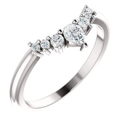 Claire Band- Graduated Diamond or White Sapphire Curved Contoured Crown Stacking Wedding Ring