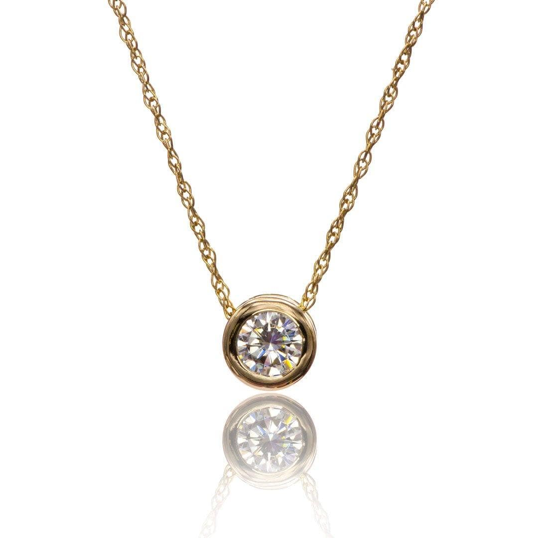 Classic Round 0.5ct Forever One Moissanite 14k yellow gold Slide Pendant Necklace, ready to ship