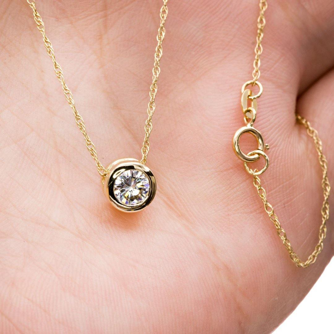 Classic Round 0.5ct Forever One Moissanite 14k yellow gold Slide Pendant Necklace, ready to ship - Nodeform
