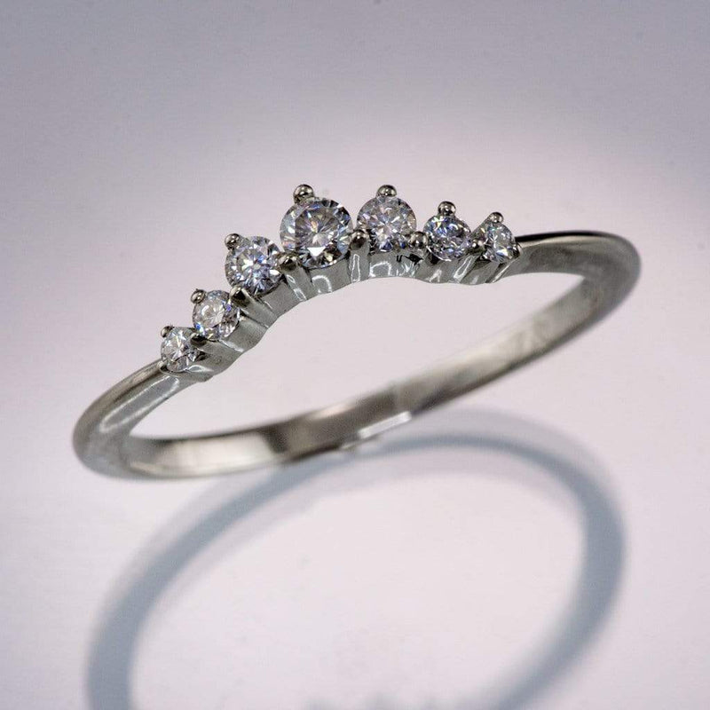 Corinne - Graduated Diamond, Moissanite or Sapphire Curved Contoured Crown Stacking Wedding Ring