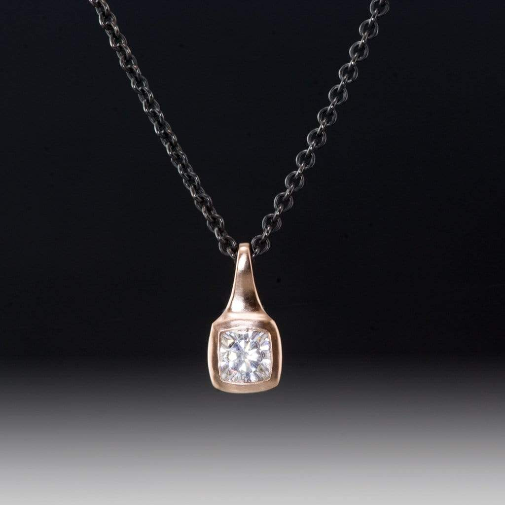 Cushion Cut Forever One Moissanite 14k Rose Gold Silver Chain Drop Pendant Necklace, ready to Ship