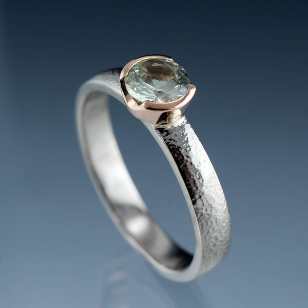 Pale Cream to Yellow/Green Fair Trade Montana Sapphire Gold Semi-Bezel Engagement Ring - by Nodeform