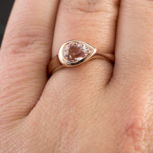 Pear Pink Morganite Sideways Tear Drop Bezel Solitaire Engagement Ring