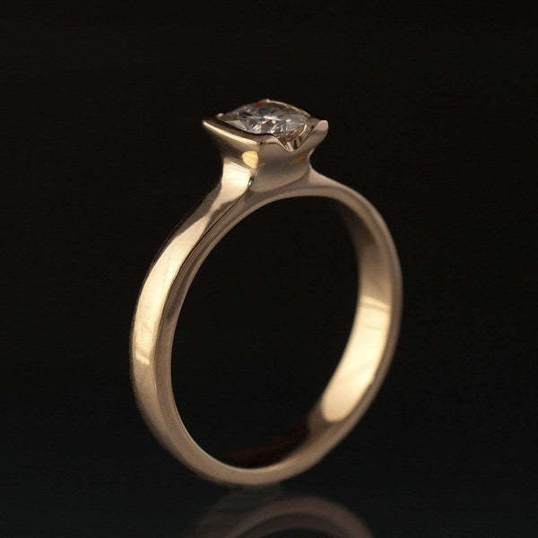 Cushion Moissanite Half Bezel Solitaire Gold Engagement Ring - by Nodeform