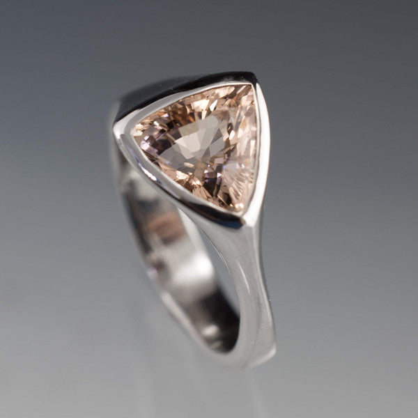 Trillion Pink Morganite Bezel Solitaire Engagement Ring - by Nodeform