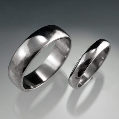 Simple Domed Wedding Bands, Set of 2 Wedding Rings