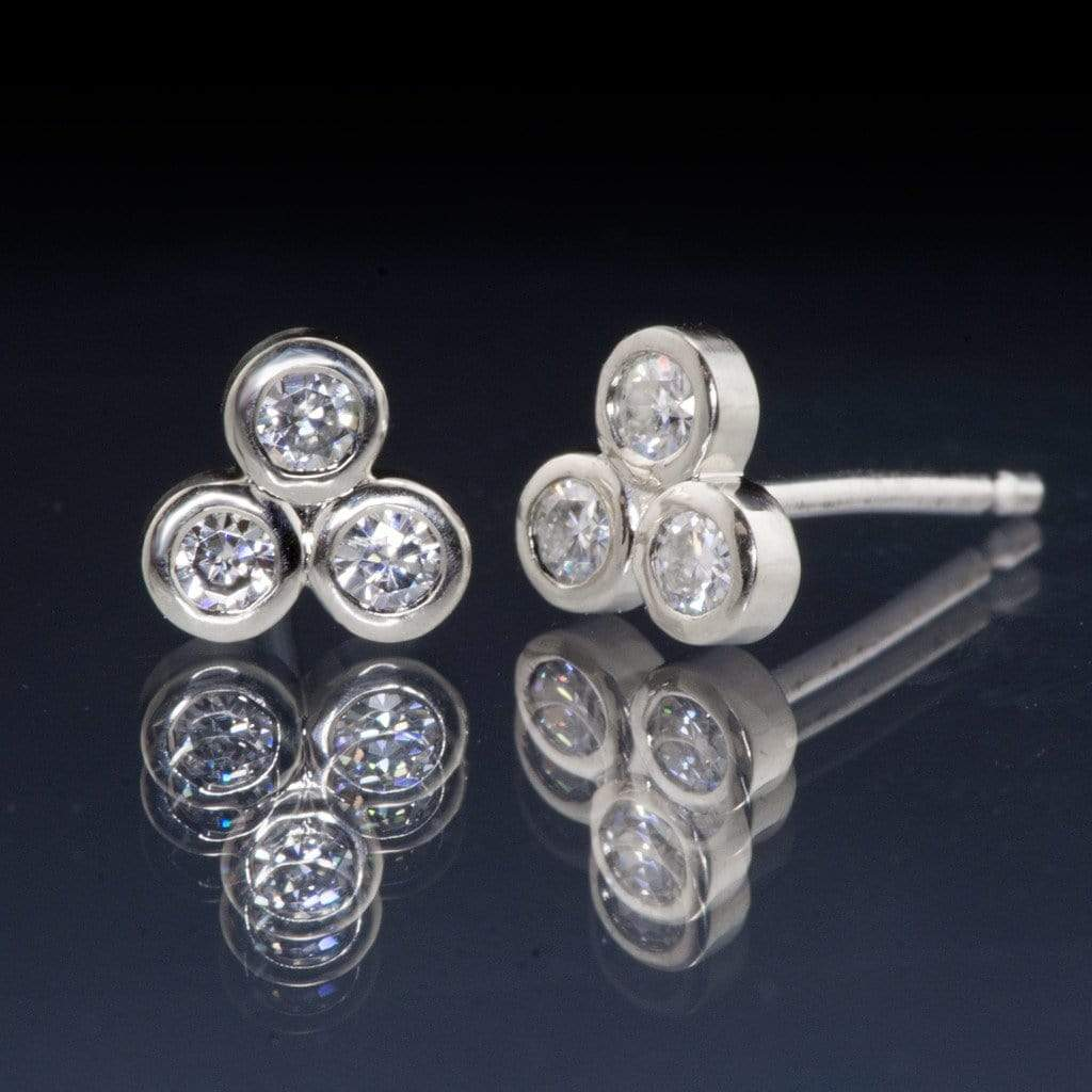 Tiny Three Moissanite Bezel Cluster Stud White Gold Earrings, Ready To Ship - by Nodeform